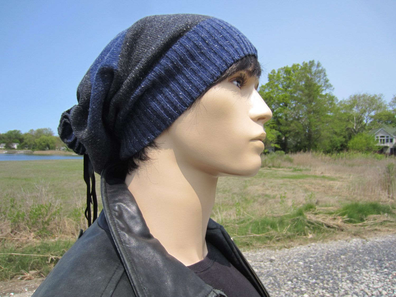 428d98f138490f Gifts for Men... Hats, Slouchy Beanies Extra long Tam Gray Blue Striped  Cotton Knit Black Leather Tie Back Tube Dread Hat A1619 by Vacationhouse on  Etsy