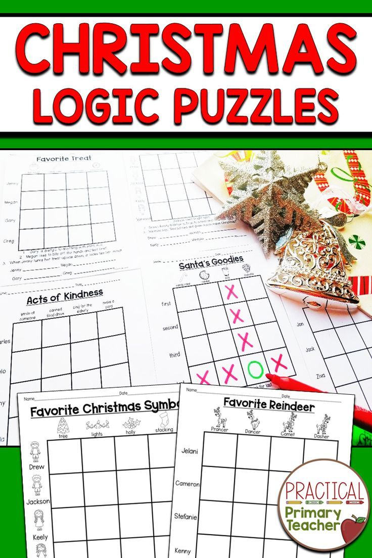 Christmas Logic Puzzles Logic puzzles, 1st grade