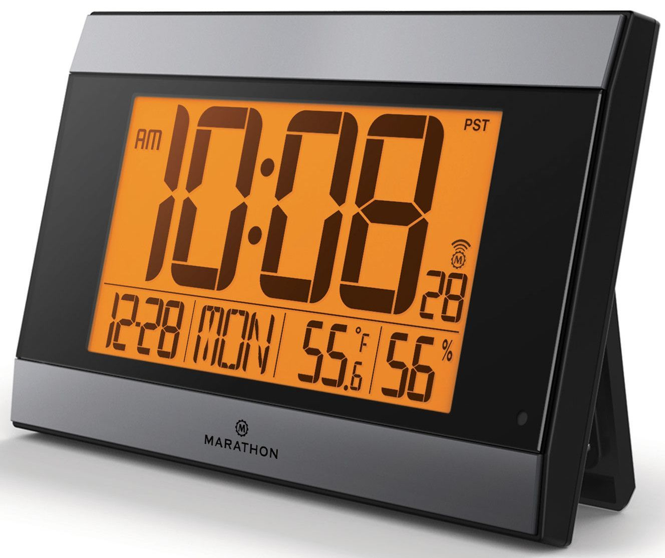 Atomic Digital Wall Clock With Auto-Night Light, Temperature