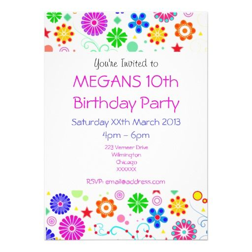 Girls 10th Birthday Party Invite