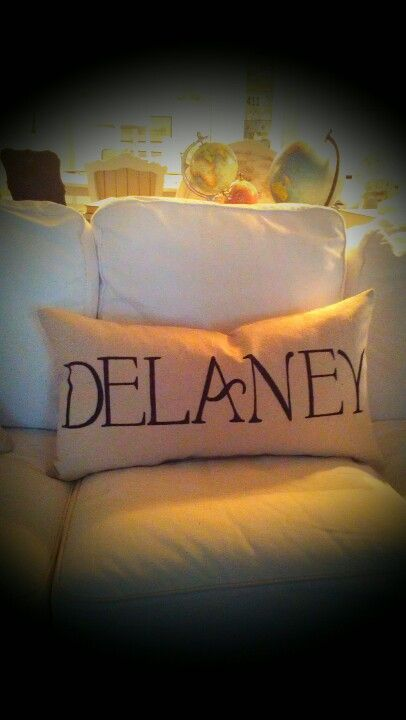 Personalized drop cloth  pillows.