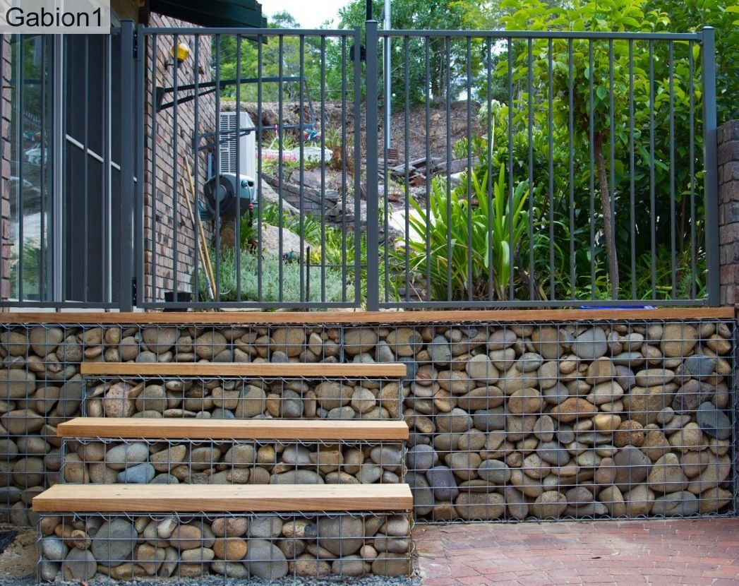 gabion steps with timber treads gabion ideas pinterest gabion wall. Black Bedroom Furniture Sets. Home Design Ideas