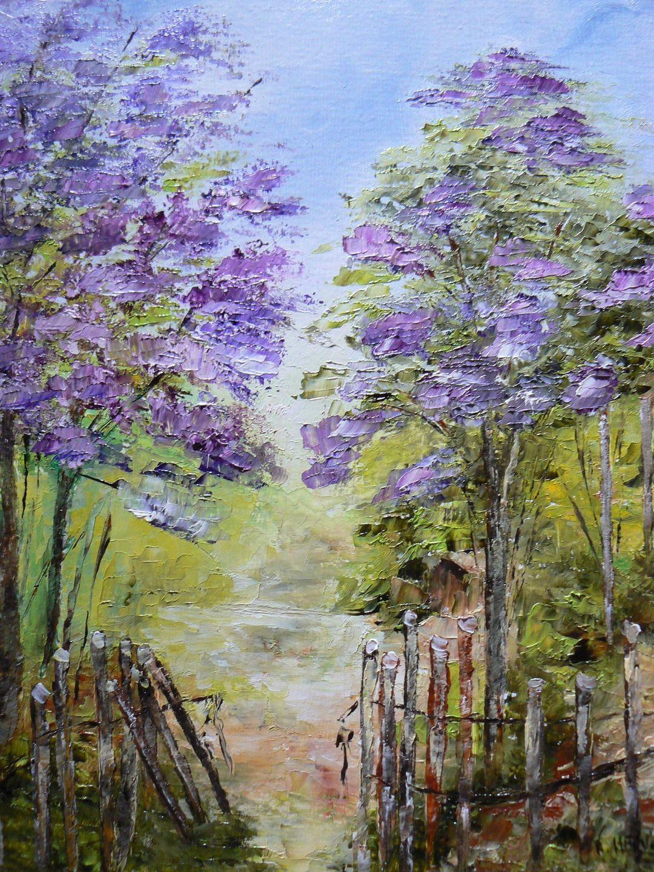 Peinture a l 39 huile r alis e au couteau repr sentant les for Jardin hansen
