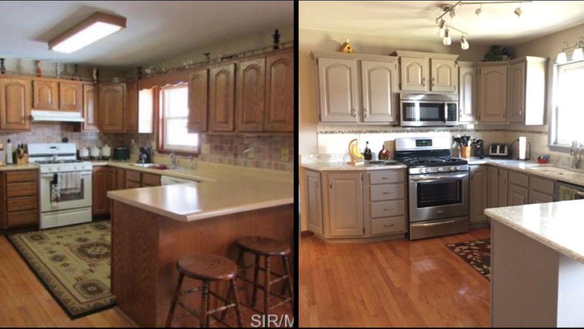 Before And After Honey Oak Cabinets Painted Sherwin Williams Spalding Gray And Bianco Romano Grani Painting Oak Cabinets New Kitchen Doors Honey Oak Cabinets