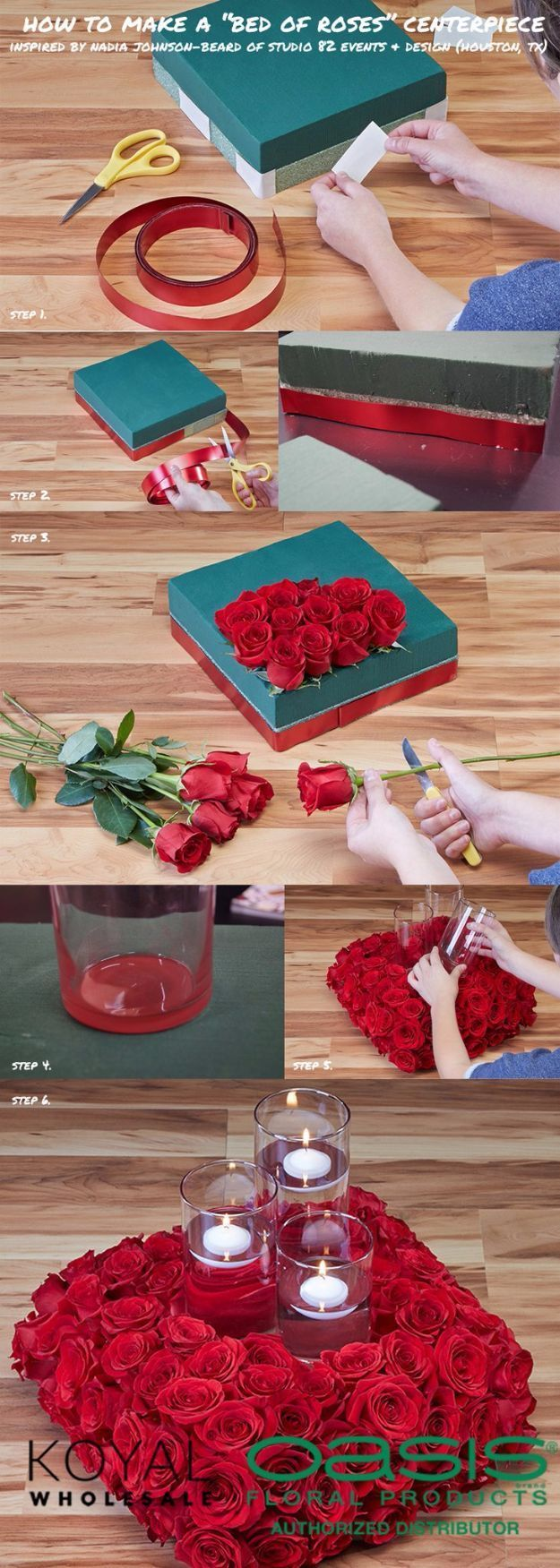 Diy wedding centerpieces diy bed of roses floating candle