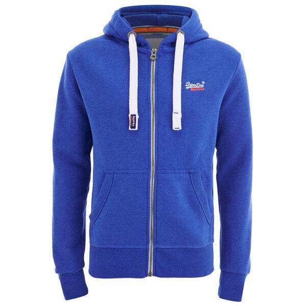 Superdry Men's Orange Label Zip Hoody - Ocean Blue Marl (43.360 CLP) ❤ liked on Polyvore featuring men's fashion, men's clothing, men's hoodies, blue, mens zip up hoodie, mens hoodie, mens zip up hoodies, mens hooded sweatshirts and mens sweatshirts and hoodies