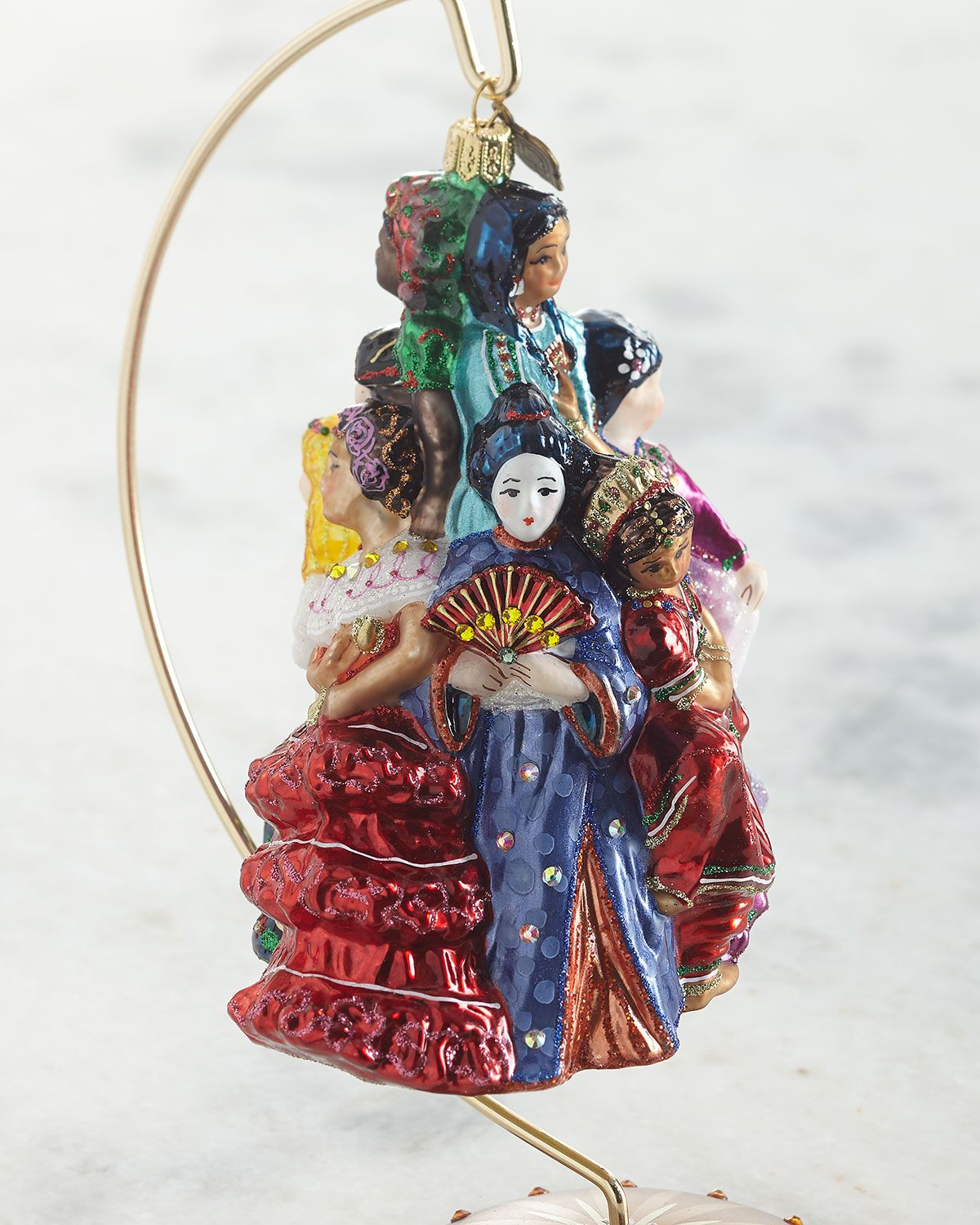Jay Strongwater Nine Ladies Dancing Glass Ornament in 2020 | Glass