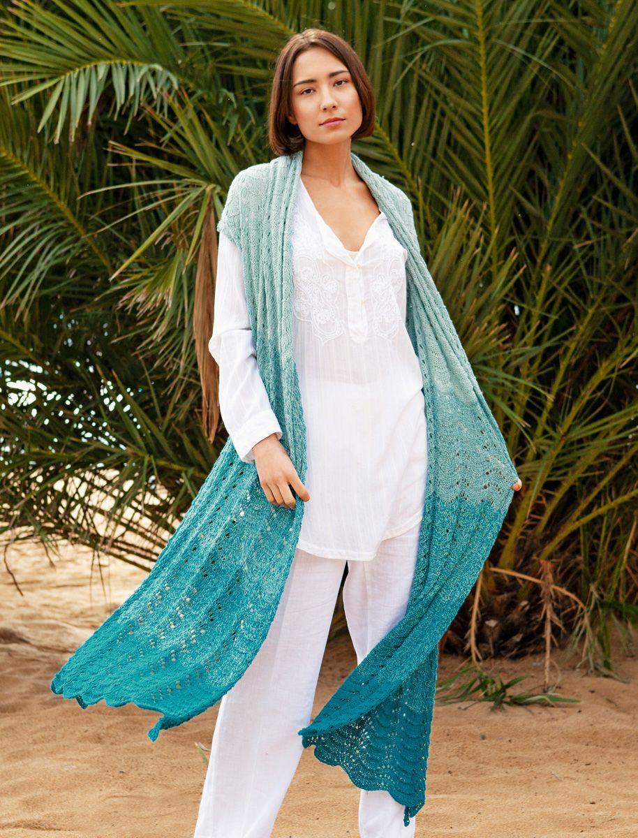 Photo of Lana Grossa STOLA IM WELLENMUSTER Twisted Summer Shades – BAUMWOLLE SCHATTEN Flyer Nr. 2 – Modell 1 | FILATI.cc Online-Shop