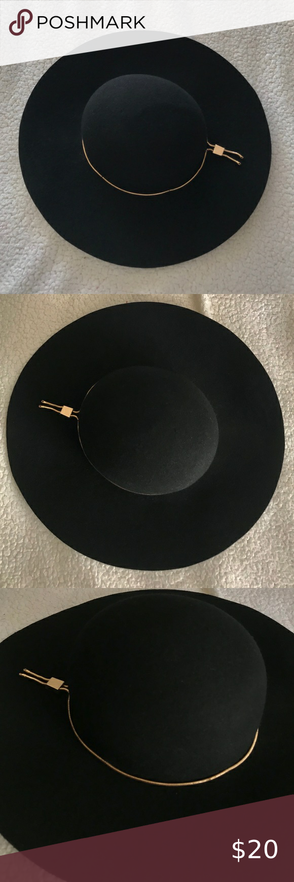 Black felt hat with gold chain detail