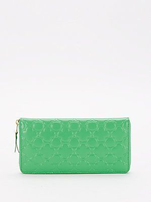 Comme des Garcons Clover-Embossed Leather Continental Zip-Around Walle