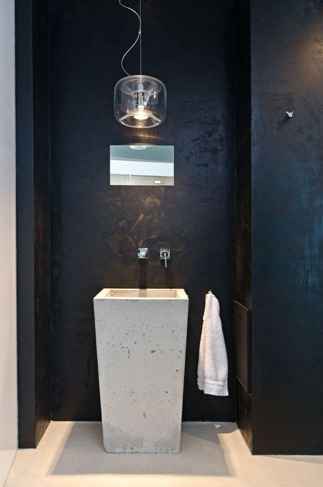 Waschbecken Pendelleuchte Tuch Spiegel Wand Schwarze Farbe Haus Einrichten Badezimmer Design Moderne Einfamilienhauser