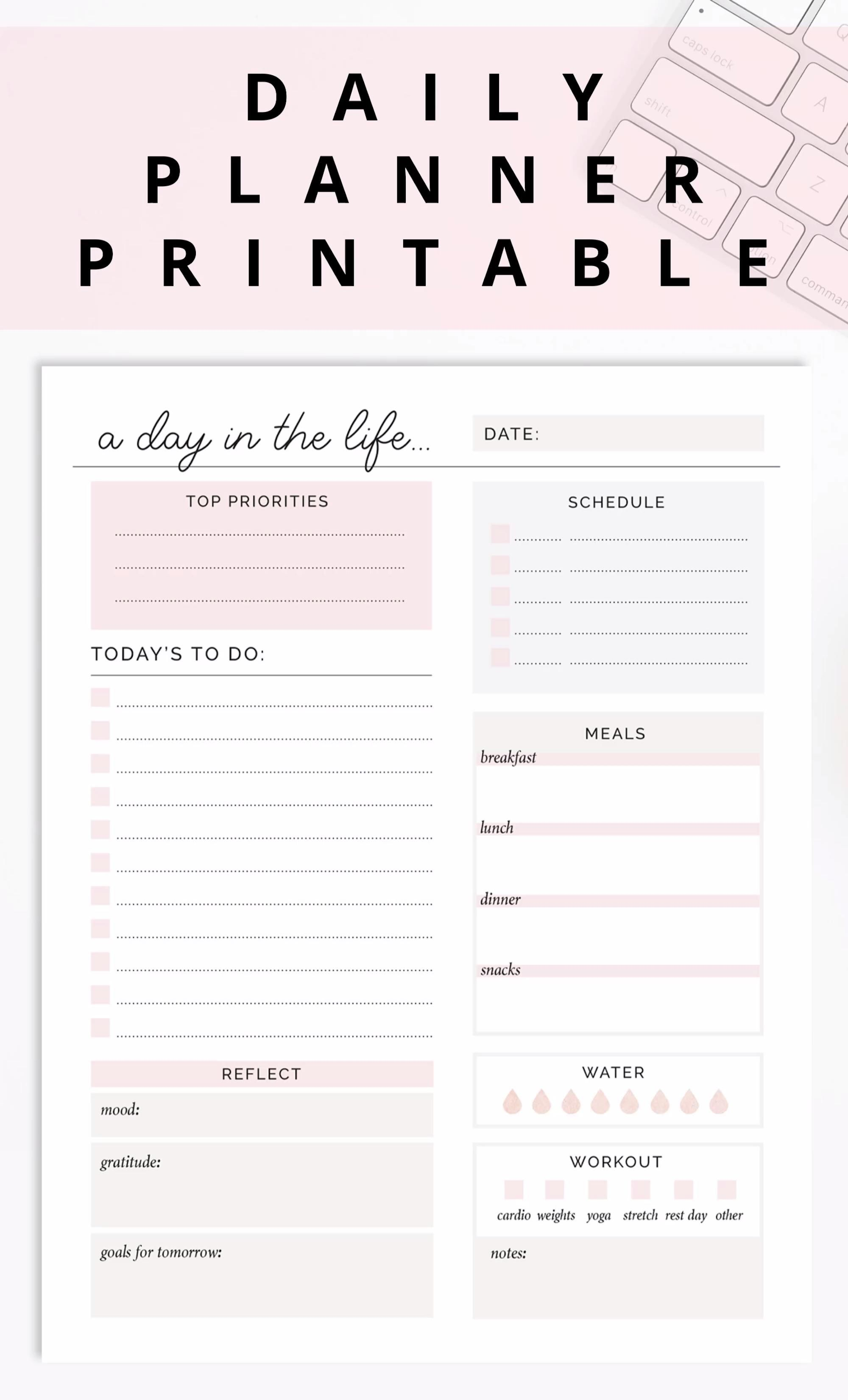 Daily Planner Printable/ Editable Daily To Do list Planner Page, Meal Planner, Fitness Goals Tracker -   fitness Planner pages
