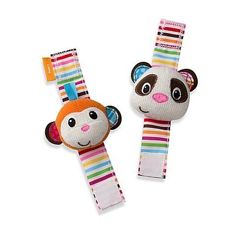 Infantino Wrist Rattles In Panda Monkey Rattles Baby Soft Toys Baby Toys