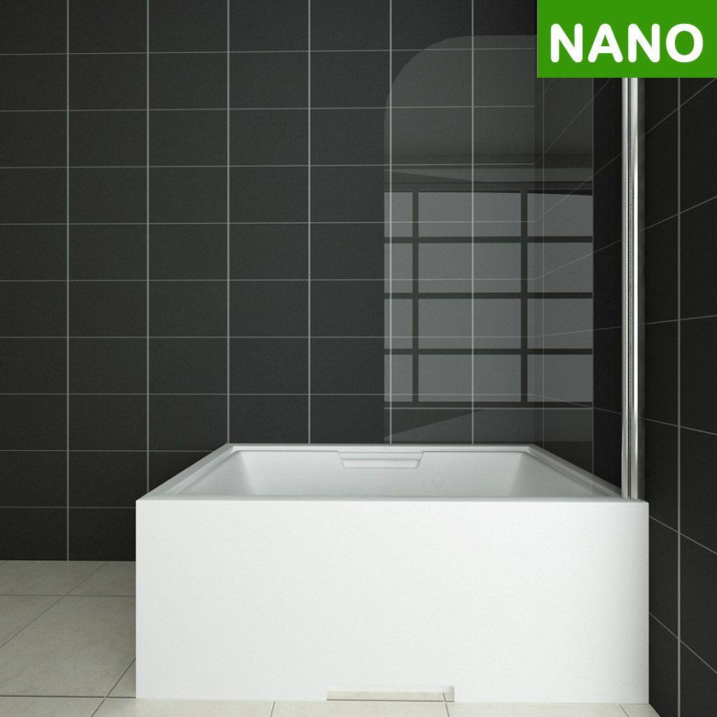 Badewanne Duschwand 180 Trennwand Duschabtrennung 80x140cm Nano