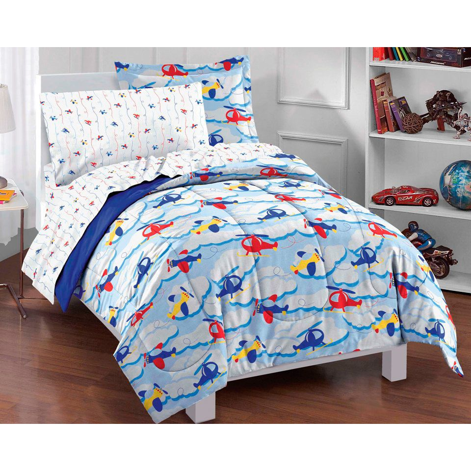Kids Bedding Boys Twin Size Planes and Clouds 5-piece Twin-size Bed ...