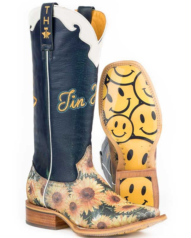 cbc102229e9 Tin Haul Sunflower Smiley Face Sole Square Toe Boots | Women's Boots ...