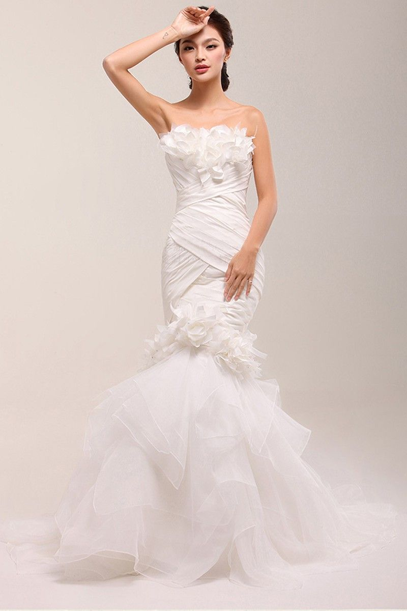 Wedding dresses com  Mermaid Strapless Sleeveless Ruffles Laceup Satin Court Train