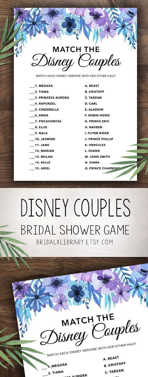 Match the Disney Couples, Bridal Shower Games Printables, Bridal Shower Game Idea, Bridal Shower Instant Download, Wedding Game, Watercolor #bridalshowerdecorations