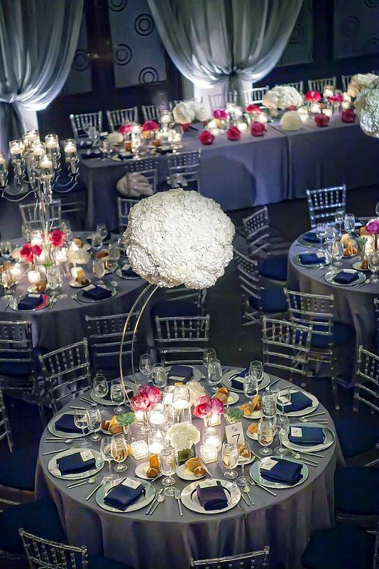 Suspended Statement Centerpieces Weddings Centerpieces Blisschicago Silver Wedding Decorations Gray And Navy Blue Wedding Wedding Table Linens