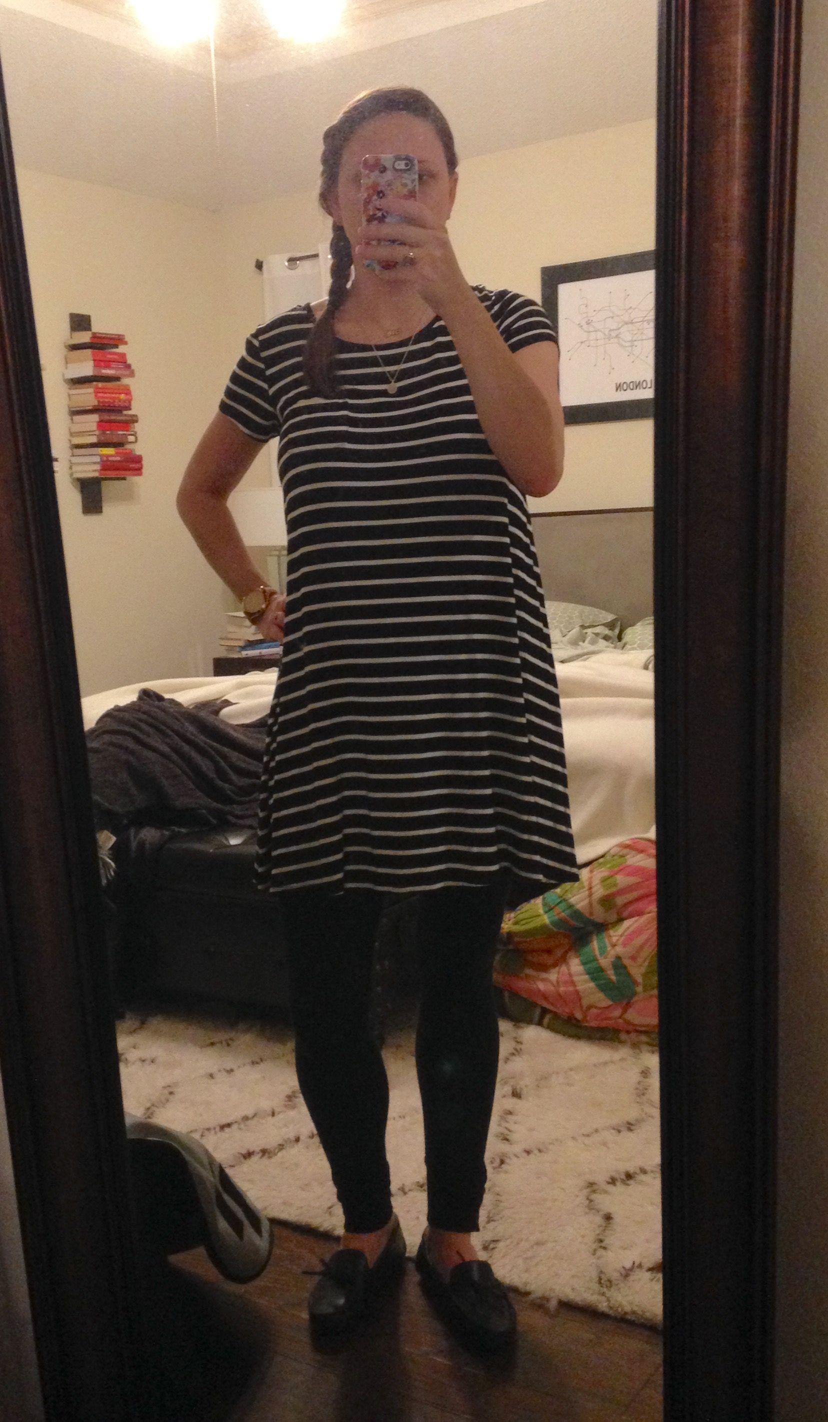 Ootd Work Shirt Dress Striped T Shirt Dress T Shirt Dress [ 2843 x 1656 Pixel ]