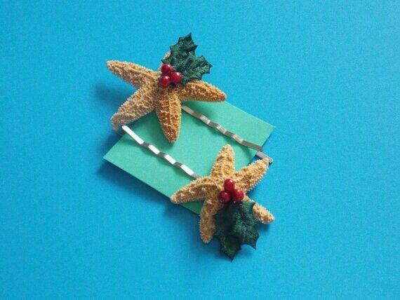 Christmas starfish bobby pins!
