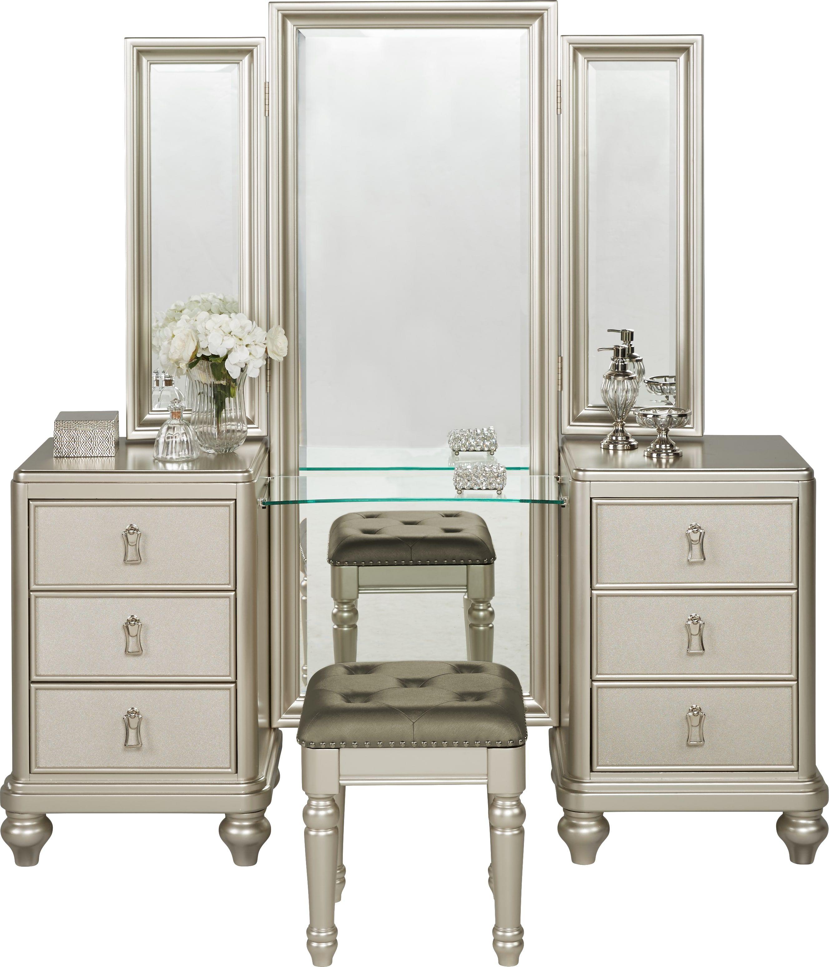 Sofia Vergara Paris Silver 2 Pc Vanity Set King Bedroom Sets
