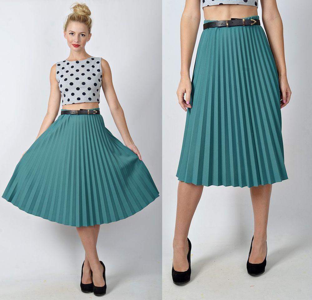 Vintage 70s 80s Green Accordion Pleated Skirt High Waist Midi Full S M