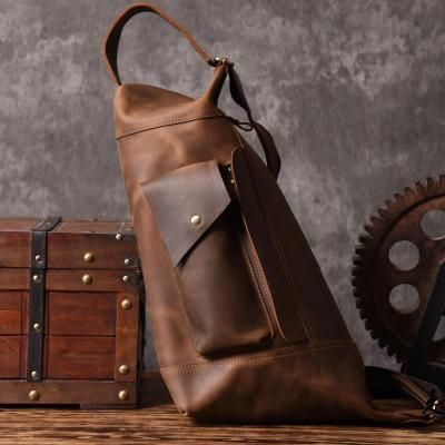 b918938c61a2 Handmade Large Unbalance Backpack Men s Cowhide Leather Messenger Bag  Outdoor Chest Bag MT05 - LISABAG