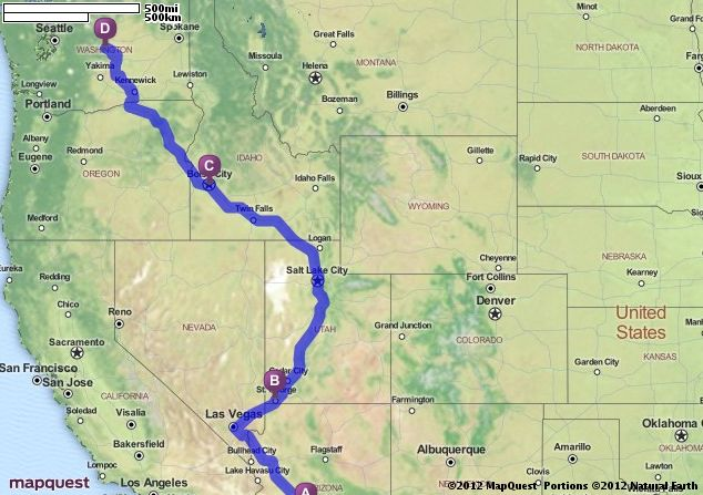 Driving Directions From Goodyear Arizona To Wenatchee Washington
