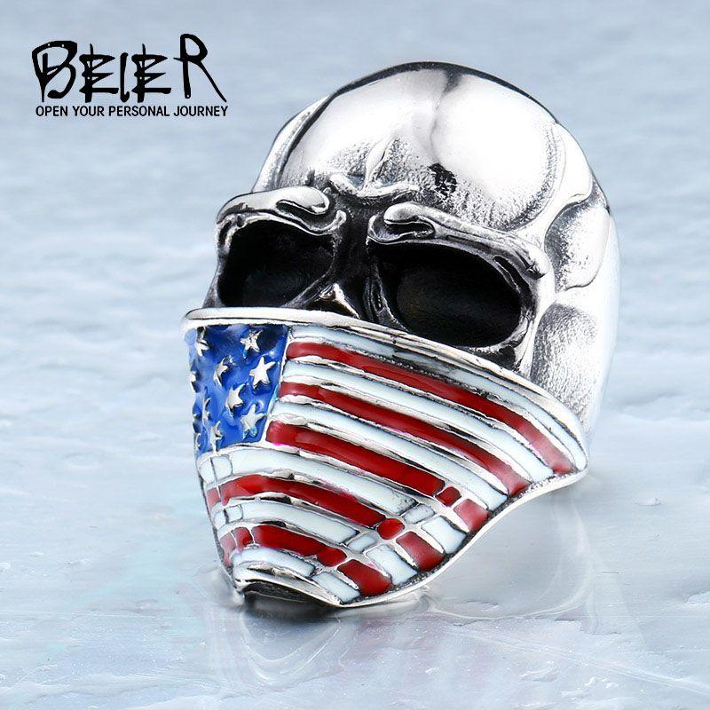 BEIER Bandiera Americana Dell'acciaio Inossidabile Dell'anello Del Cranio per L'uomo di Personalità Biker Gioielli Prezzo di Fabbrica All'ingrosso BR8-283