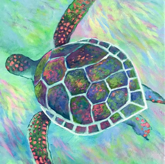Rainbow magical abstract sea turtle water original for Turtle fish paint