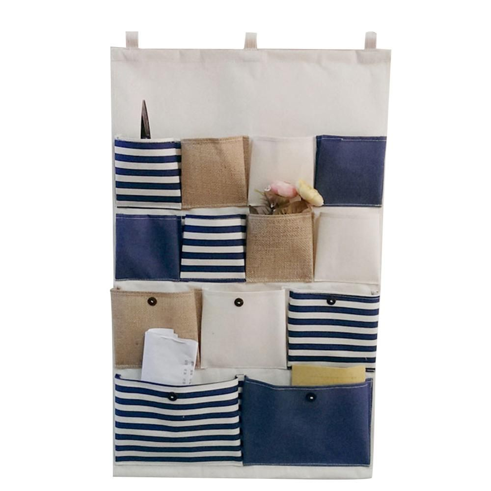 Creative Hanging Storage Bags 13 Pockets Vintage Striped Door Wall