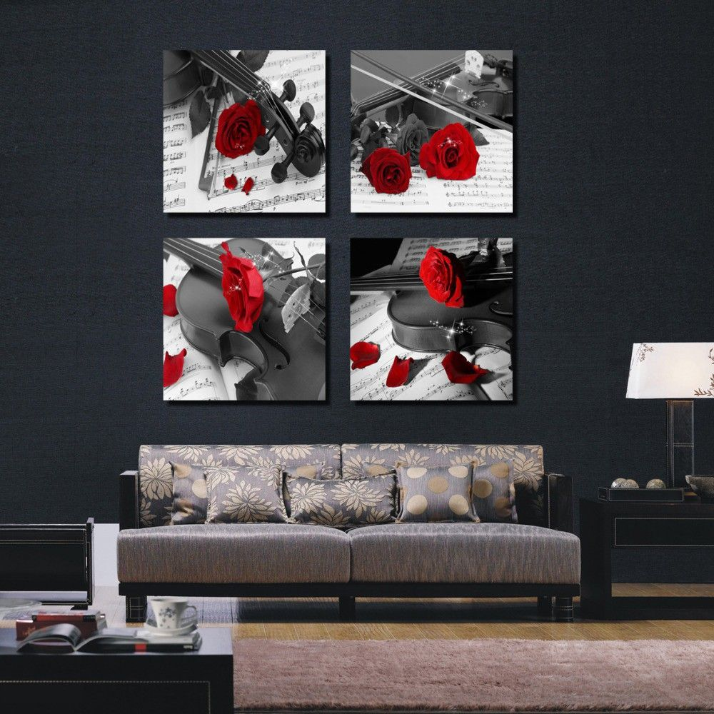 Modern Wall Paintings Living Room 4 Piece Canvas Wall Art Office Black And White Pictures Black