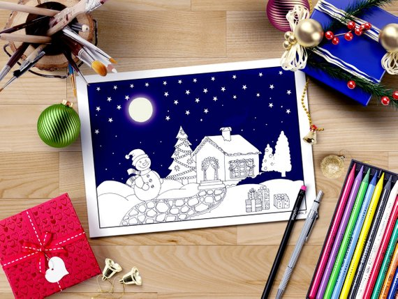 Christmas coloring page, Snowman coloring, starry night xmas, christmas tree printable coloring page