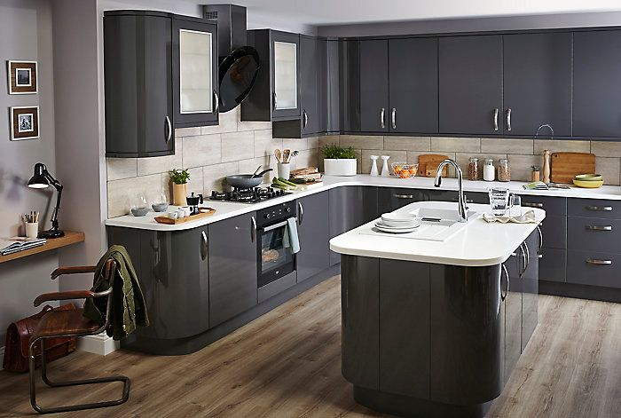 Cooke & Lewis Raffello High Gloss Anthracite Slab Kitchen  Home Cool B & Q Kitchen Design Decorating Inspiration