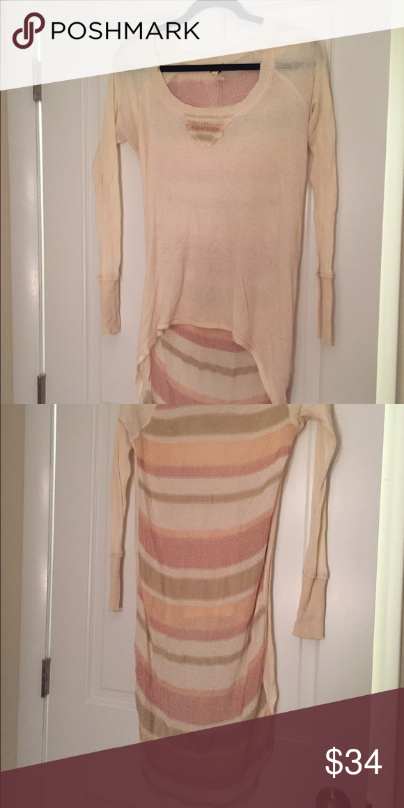 We The Free Waffle Knit W/ Pink Stripe Back Size S We The Free Off White Waffle Knit W/ Pink Stripe Back Size S 