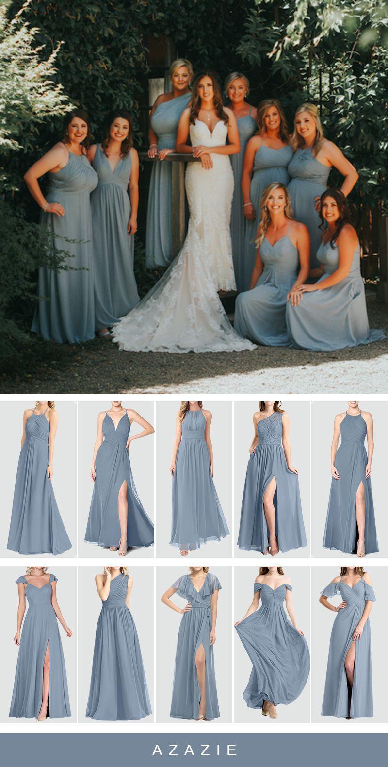 500+ Dusty Blue Bridesmaid Dresses