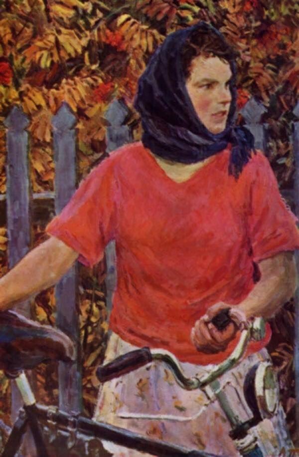 Аркадий Пластов. «Девушка с велосипедом». (1956)   Музей ...
