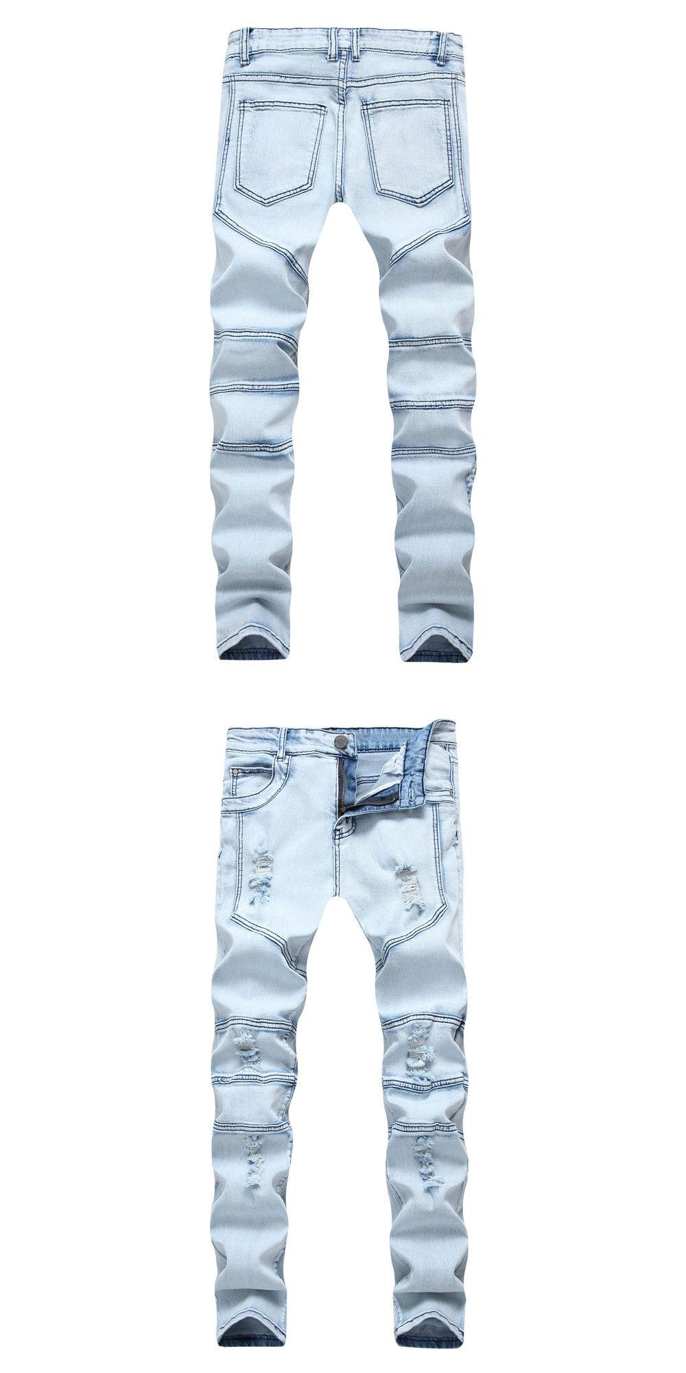 d06bba13f2a 2018 New Dropshipping Mens Ripped Biker Jeans Men Cotton blue Slim Fit  Motorcycle Jeans Men s Skinny Hole Denim Pants Plus Size
