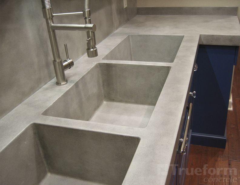 Concrete Sinks triple concrete sink | kitchen reno final choices | pinterest