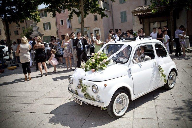 decoration voiture mariage fiat 500