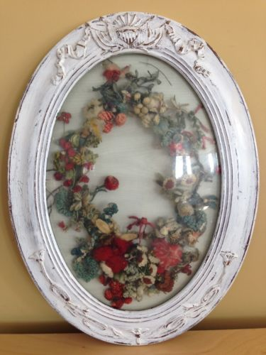 Antique Victorian Wool Work Wreath Painted Oval Frame Curved Glass ...