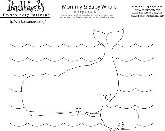 Free embroidery pattern - whales by Bad Bird
