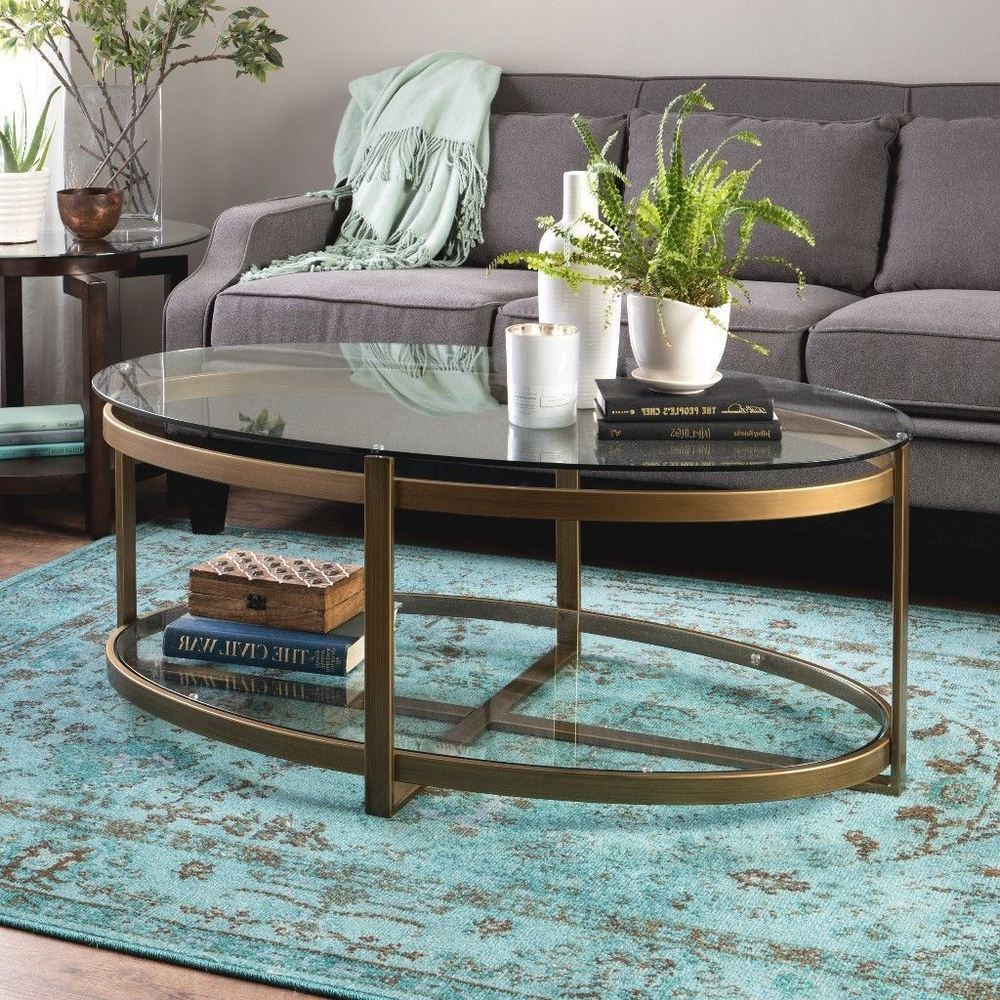 Glass And Metal Oval Coffee Table With Shelf Home Furniture Table