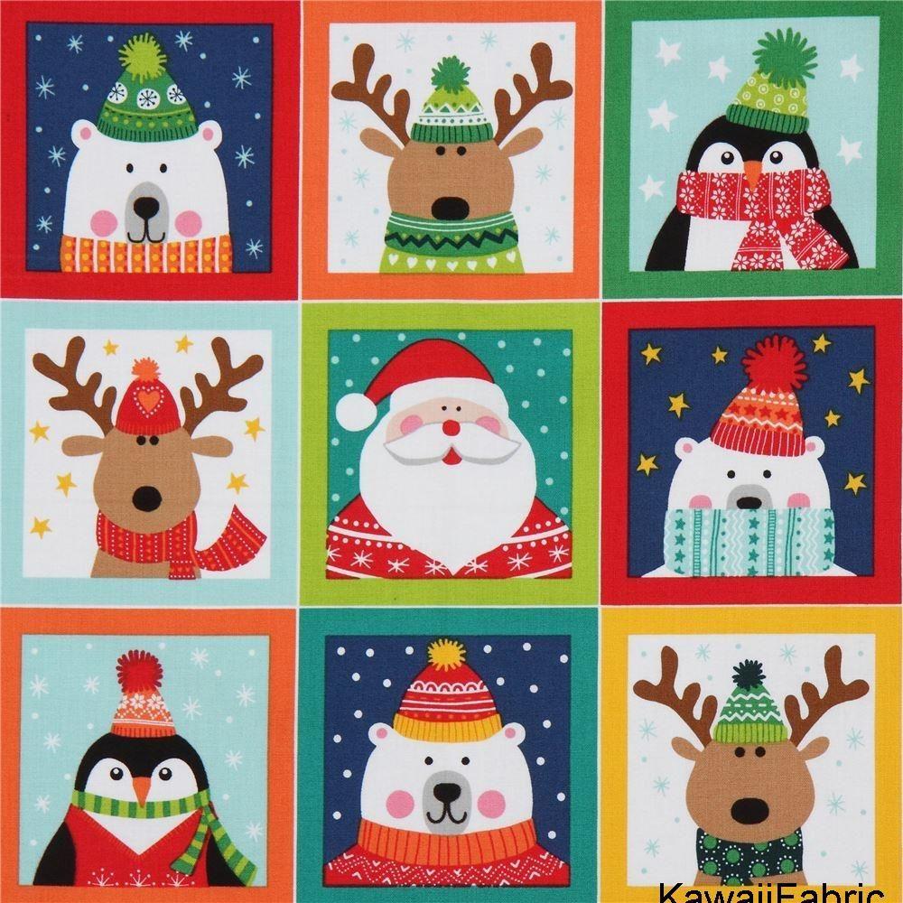 Tela Navidad Recuadro Colores Reno Santa Claus Oso Polar Makower Uk