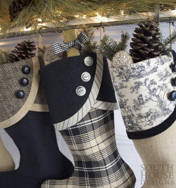 Black And White Christmas Stockings.Black Tan With Gold Christmas Stockings By