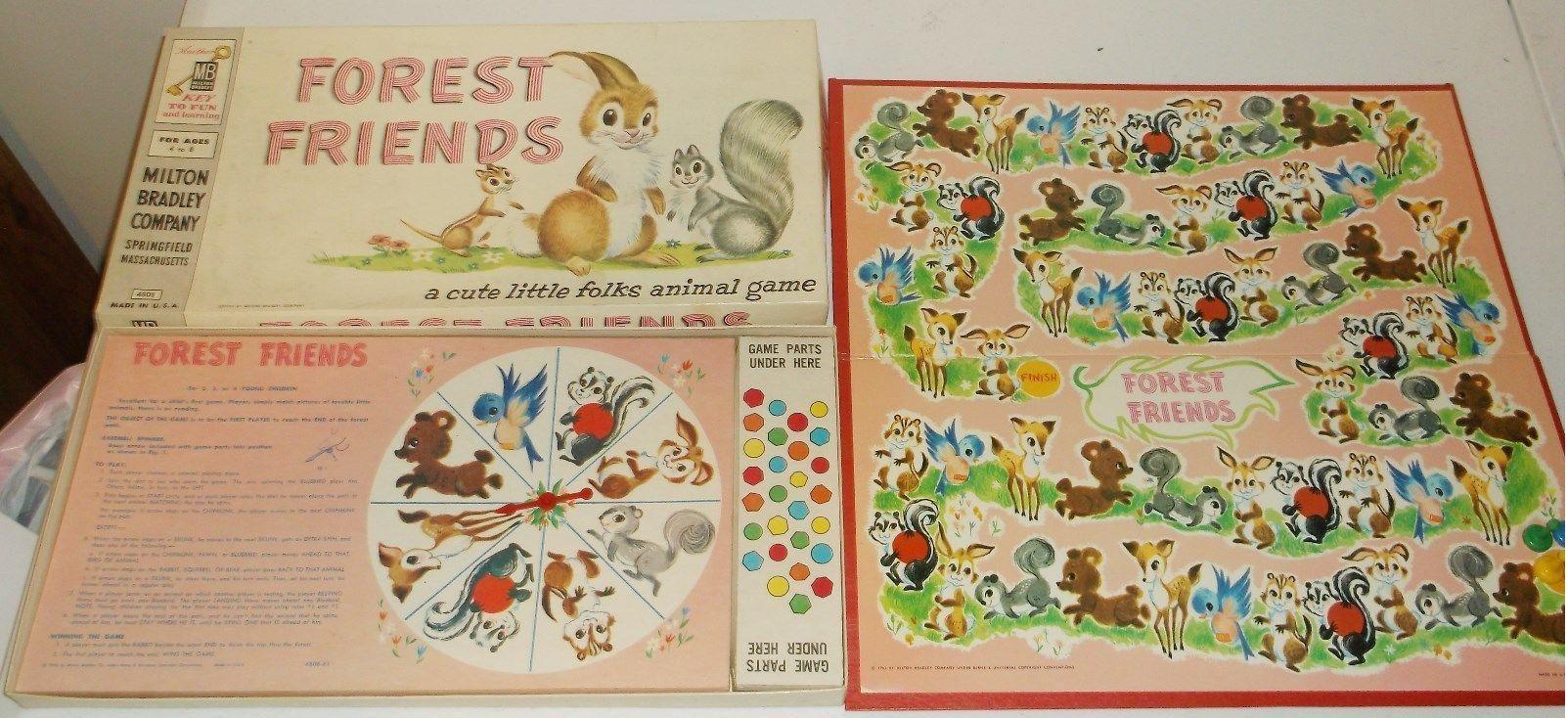 Vintage Milton Bradley 1956 Forest Friends Board Game Used