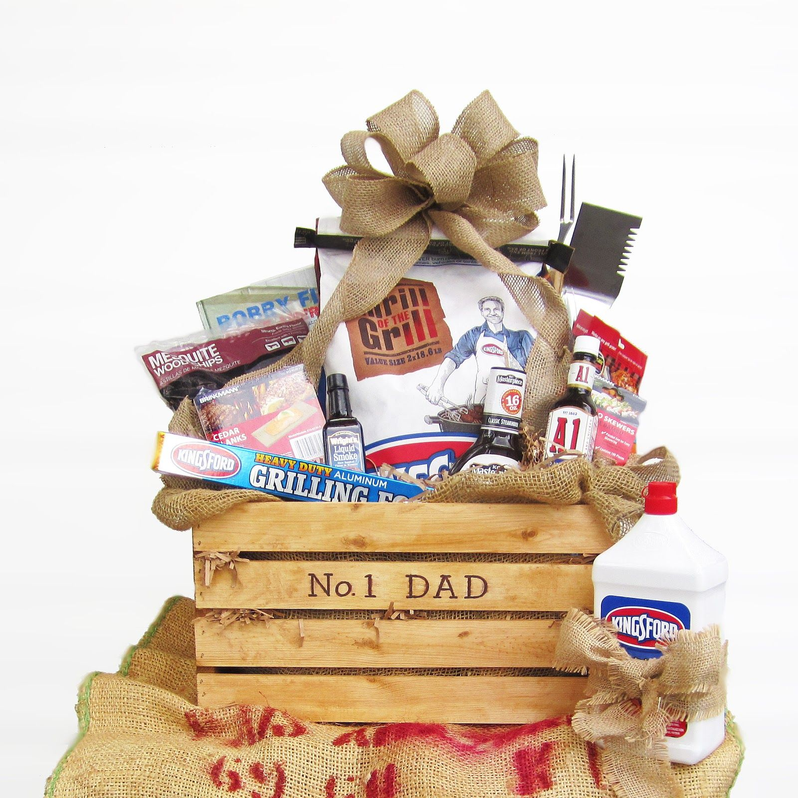 Fathers day grillin gift basket crate crates basket
