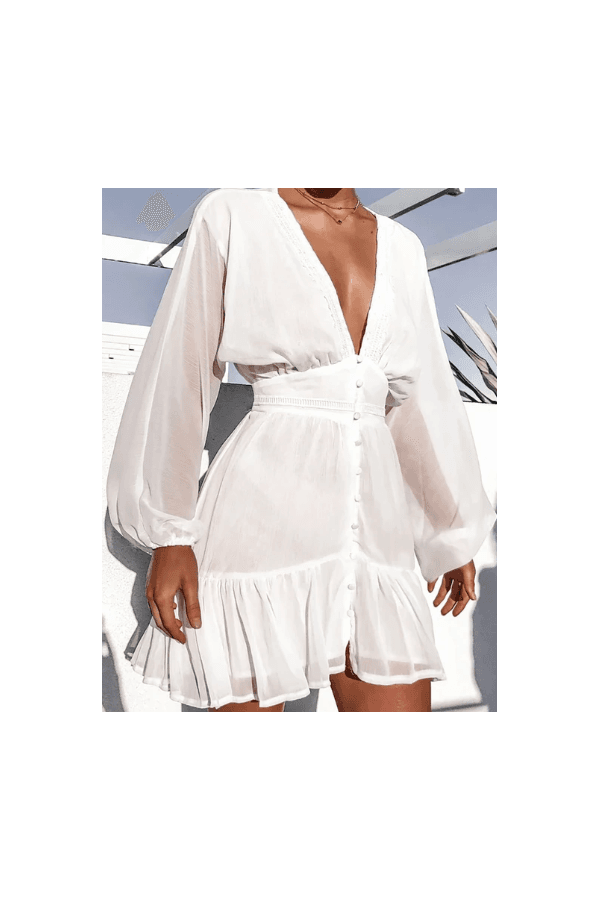 Photo of The Fashion Bible Paris White Chiffon Long Sleeve Shift Dress size: 8
