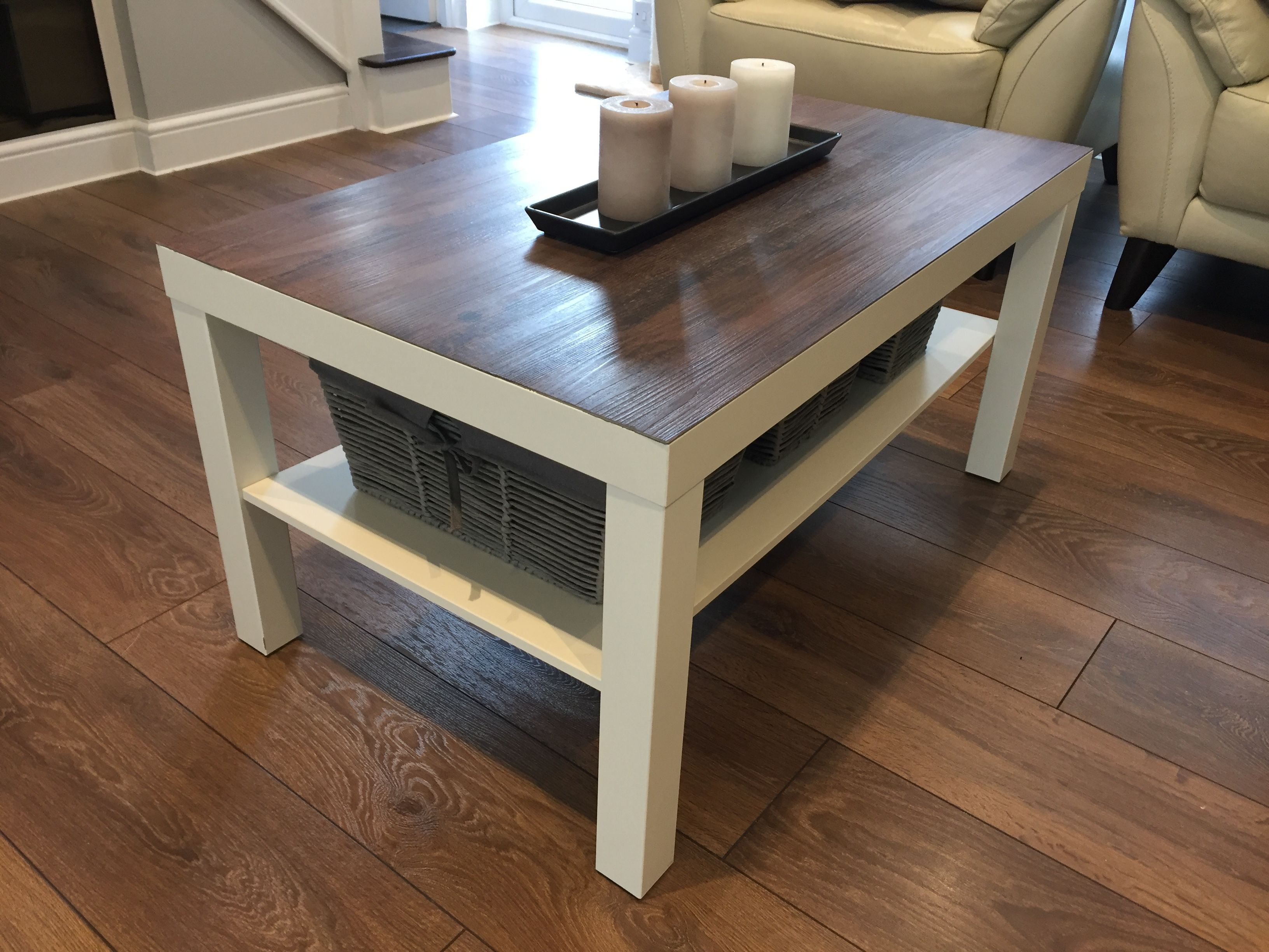 Ikea Lack Coffee Table Hack Using Vinyl Adhesive Flooring Lack Coffee Table Coffee Table Ikea Lack Coffee Table [ 2448 x 3264 Pixel ]